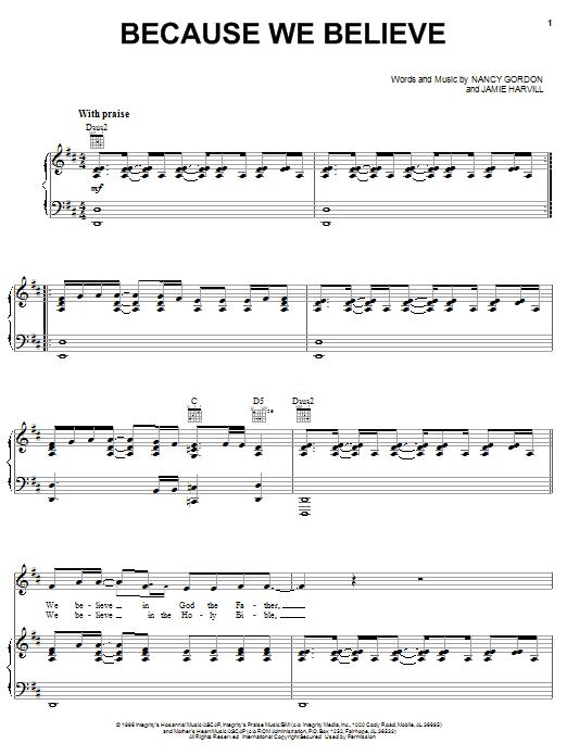 Download Nancy Gordon Because We Believe sheet music and printable PDF score & Pop music notes