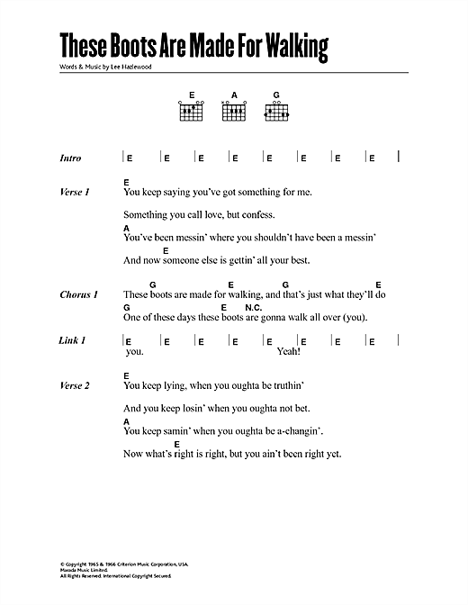 Download Nancy Sinatra These Boots Are Made For Walking sheet music and printable PDF score & Pop music notes