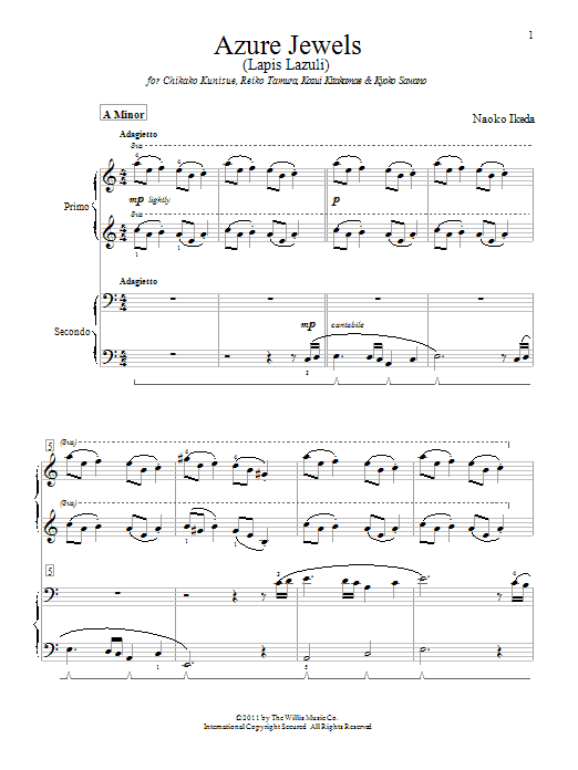 Download Naoko Ikeda Azure Jewels sheet music and printable PDF score & Pop music notes