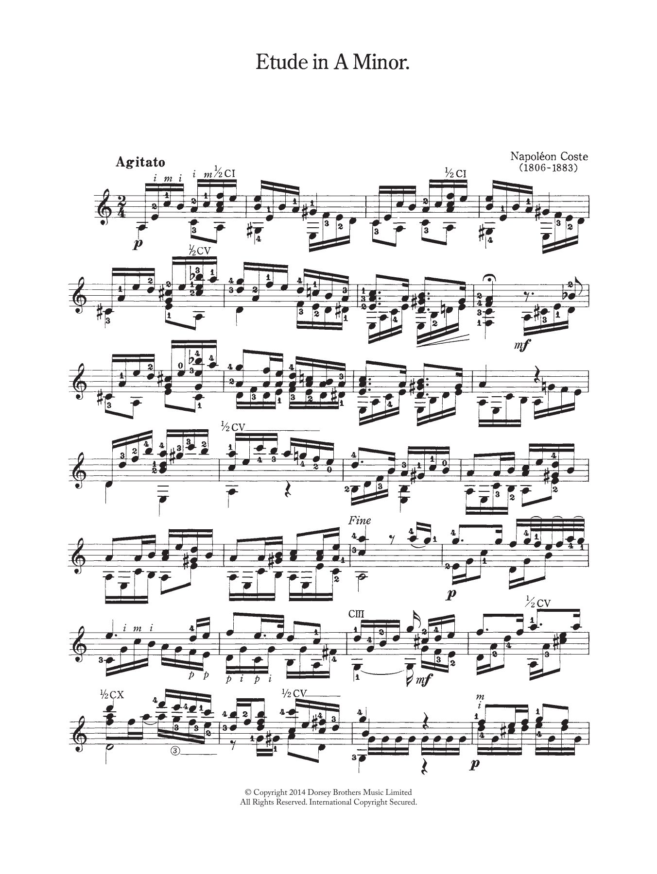 Download Napoleon Coste Etude In A Minor sheet music and printable PDF score & Classical music notes
