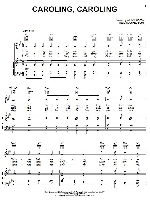 Download Nat King Cole Caroling, Caroling sheet music and printable PDF score & Christmas music notes