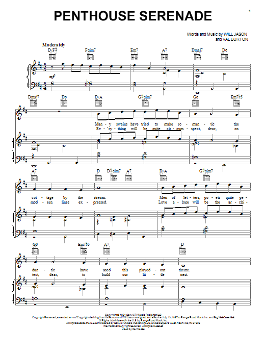 Download Nat King Cole Penthouse Serenade sheet music and printable PDF score & Jazz music notes