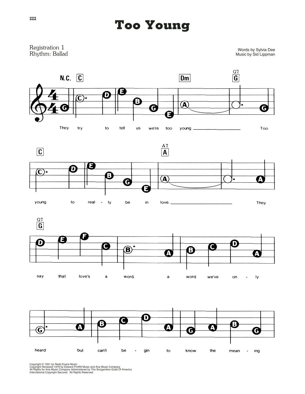 Download Nat King Cole Too Young sheet music and printable PDF score & Easy Listening music notes