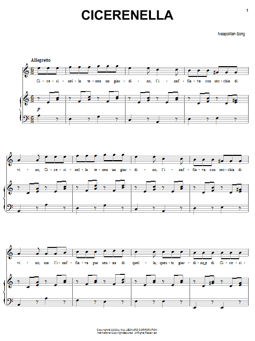 Download Neapolitan Song Cicerenella sheet music and printable PDF score & World music notes