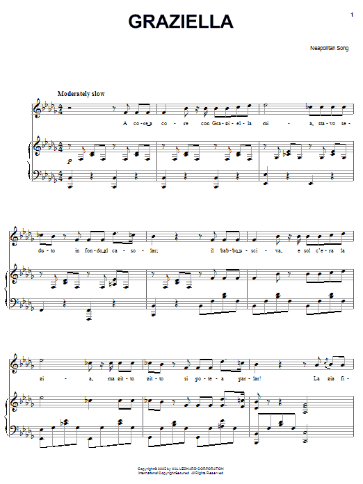 Download Neapolitan Song Graziella sheet music and printable PDF score & World music notes