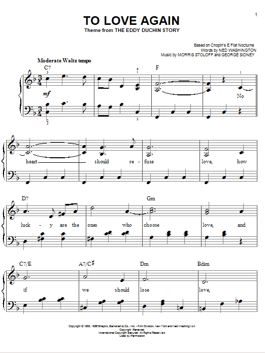 Download Ned Washington To Love Again sheet music and printable PDF score & Unclassified music notes