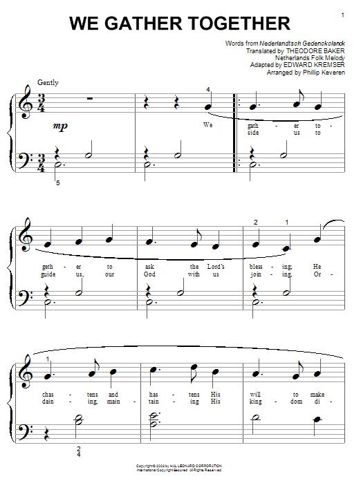 Download Nederlandtsch Gedenckclanck We Gather Together sheet music and printable PDF score & Hymn music notes