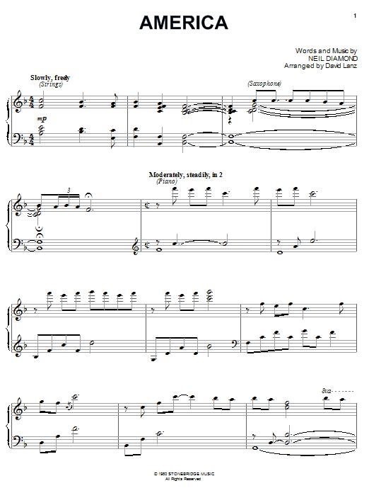 Download Neil Diamond America sheet music and printable PDF score & Rock music notes