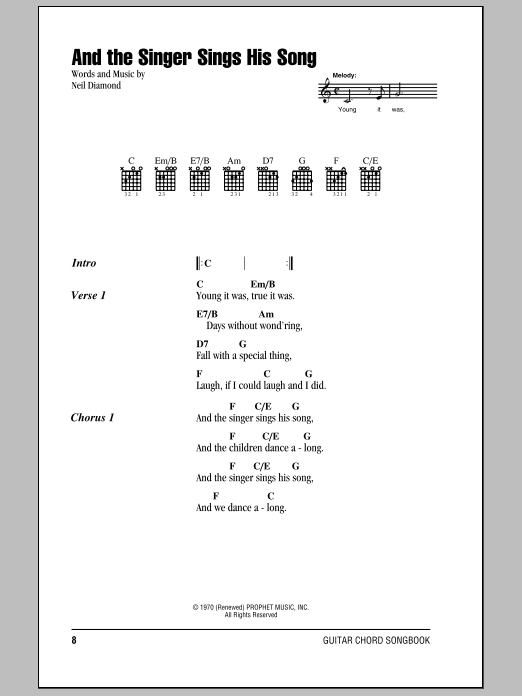 Download Neil Diamond And The Singer Sings His Song sheet music and printable PDF score & Rock music notes