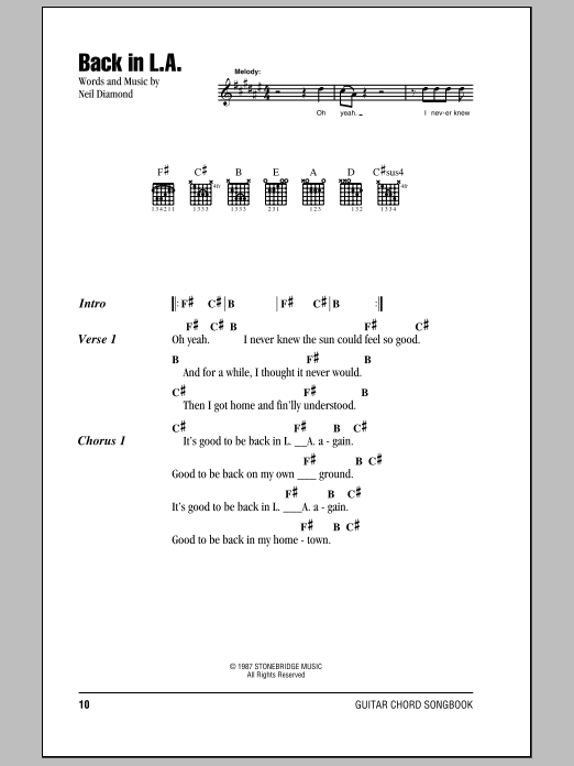 Download Neil Diamond Back In L.A. sheet music and printable PDF score & Rock music notes