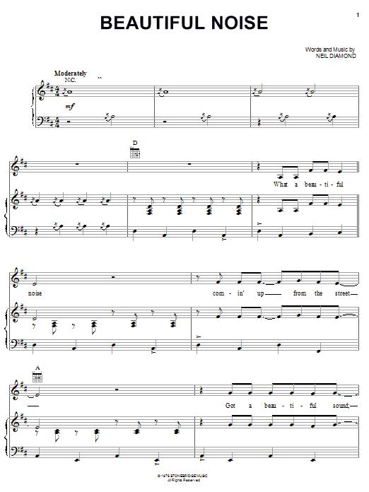 Download Neil Diamond Beautiful Noise sheet music and printable PDF score & Rock music notes