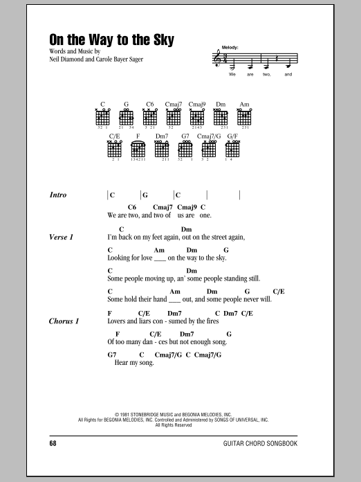 Download Neil Diamond On The Way To The Sky sheet music and printable PDF score & Rock music notes