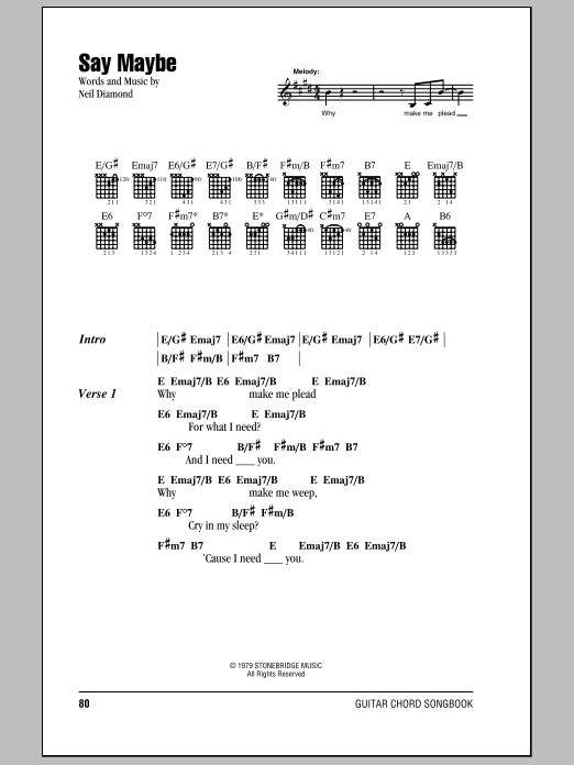 Download Neil Diamond Say Maybe sheet music and printable PDF score & Rock music notes