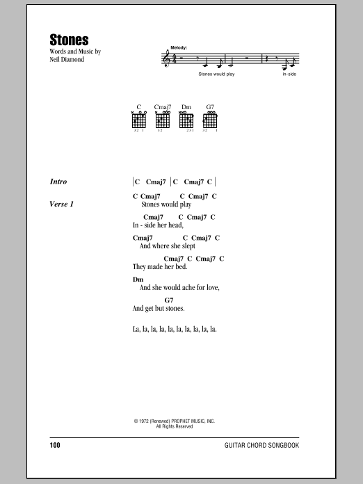Download Neil Diamond Stones sheet music and printable PDF score & Rock music notes