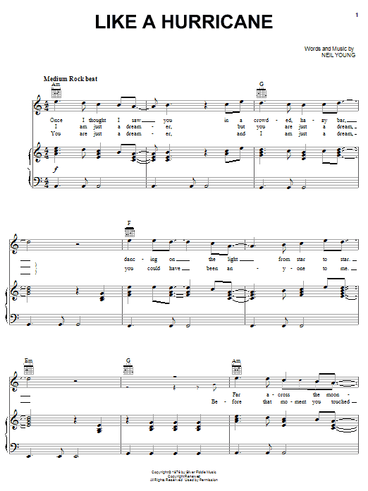 Download Neil Young Like A Hurricane sheet music and printable PDF score & Rock music notes