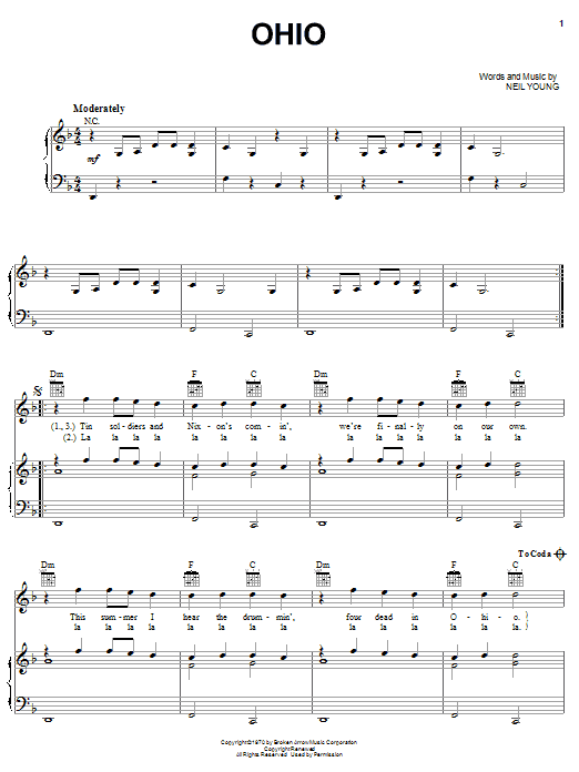Download Neil Young Ohio sheet music and printable PDF score & Rock music notes