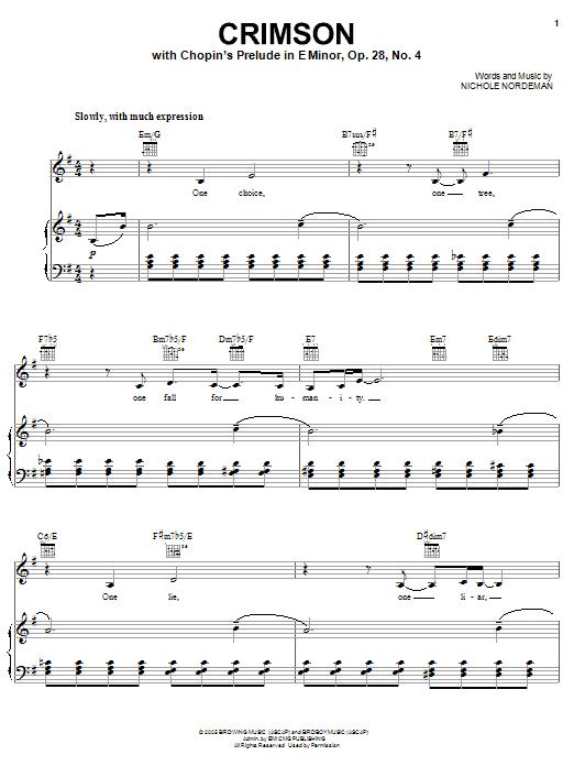 Download Nichole Nordeman Crimson sheet music and printable PDF score & Pop music notes