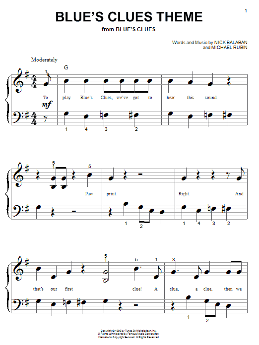 Download Nick Balaban Blue's Clues Theme sheet music and printable PDF score & Children music notes