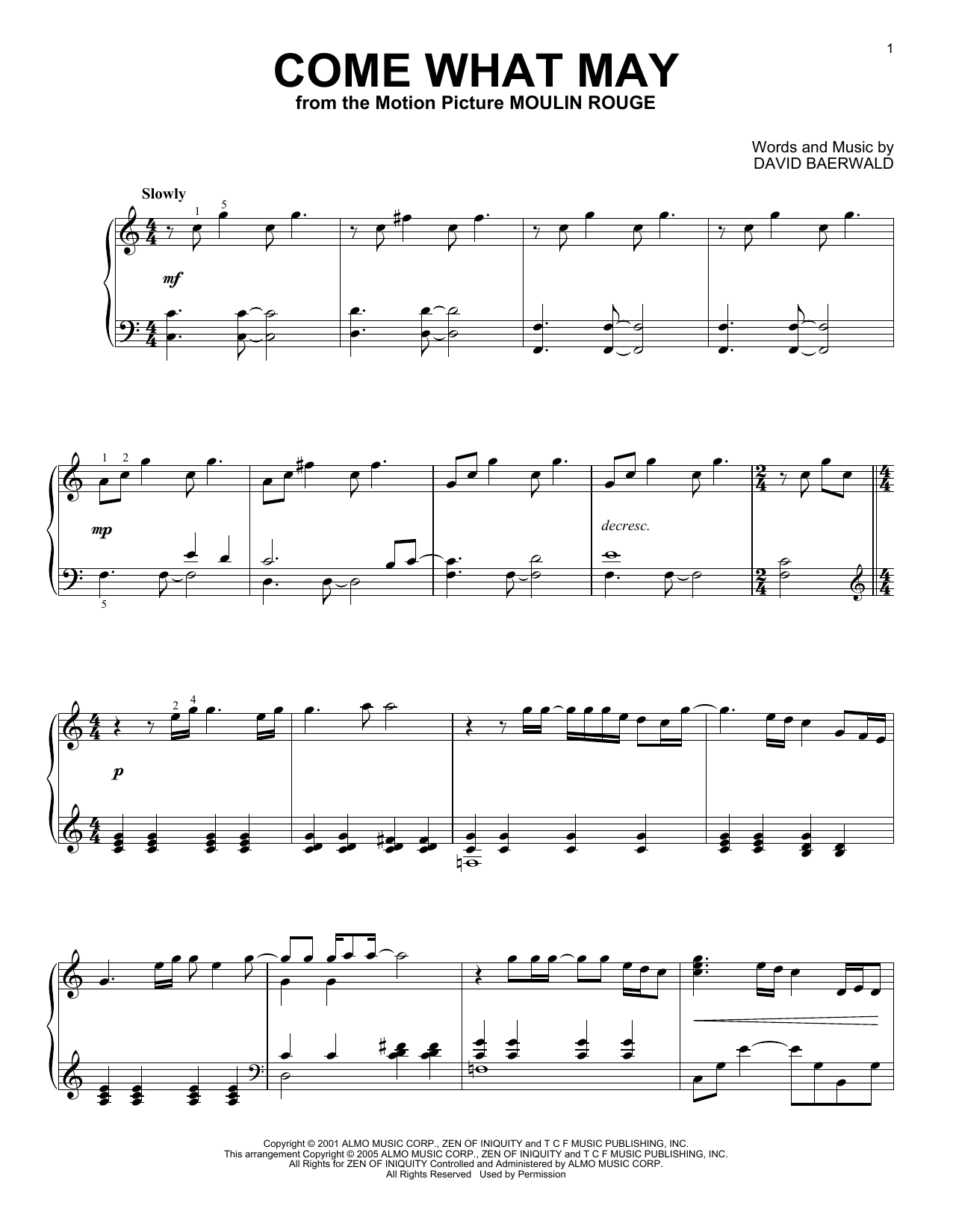 Download Nicole Kidman and Ewan McGregor Come What May sheet music and printable PDF score & Film and TV music notes