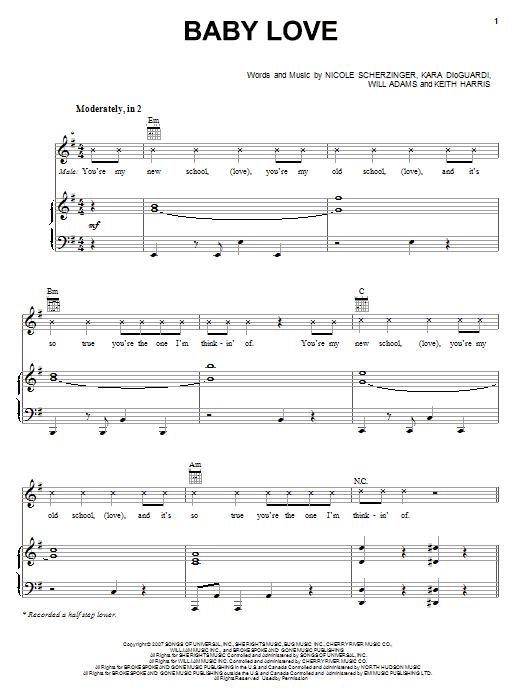 Download Nicole Scherzinger Baby Love sheet music and printable PDF score & Pop music notes