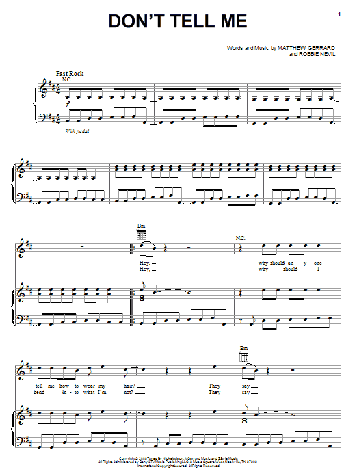 Download Nikko Don't Tell Me (from Spectacular) sheet music and printable PDF score & Rock music notes