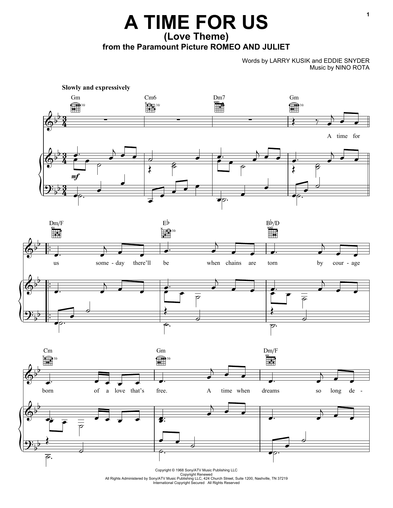 Download Nino Rota A Time For Us (Love Theme) sheet music and printable PDF score & Pop music notes