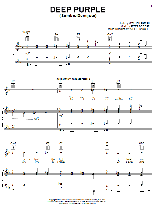 Download Nino Tempo & April Stevens Deep Purple sheet music and printable PDF score & Jazz music notes