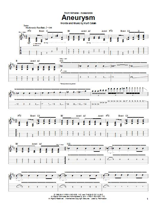 Download Nirvana Aneurysm sheet music and printable PDF score & Rock music notes