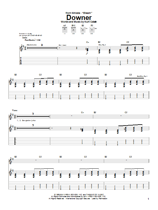 Download Nirvana Downer sheet music and printable PDF score & Rock music notes