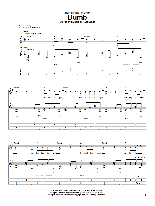 Download Nirvana Dumb sheet music and printable PDF score & Pop music notes