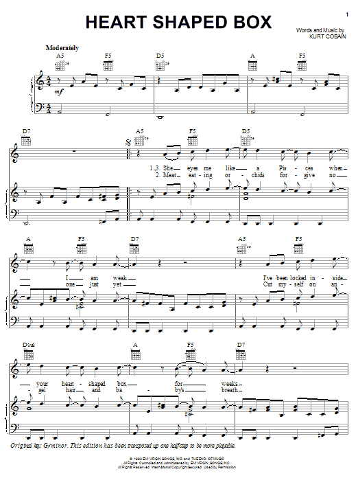 Download Nirvana Heart Shaped Box sheet music and printable PDF score & Pop music notes