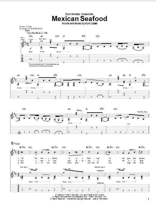 Download Nirvana Mexican Seafood sheet music and printable PDF score & Rock music notes