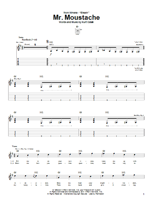 Download Nirvana Mr. Moustache sheet music and printable PDF score & Rock music notes