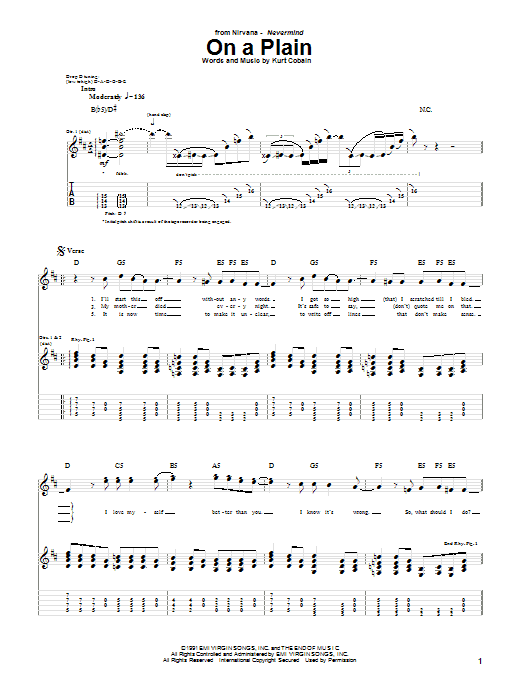 Download Nirvana On A Plain sheet music and printable PDF score & Pop music notes