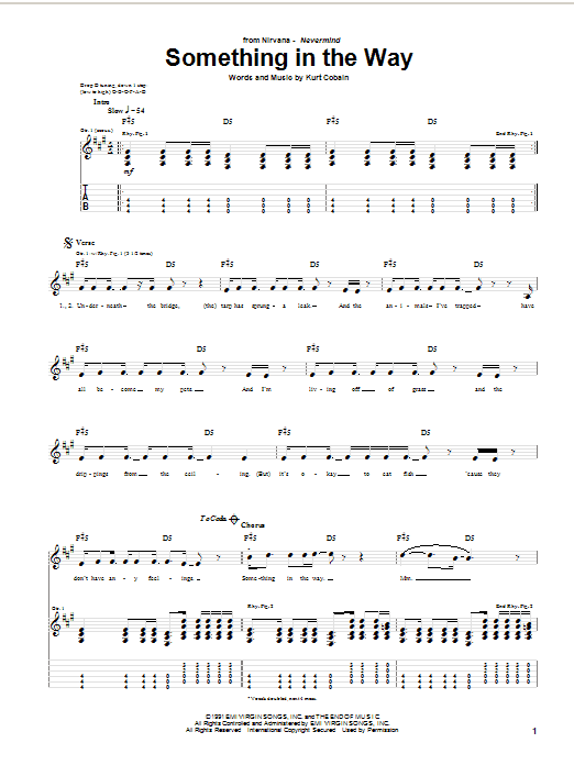 Download Nirvana Something In The Way sheet music and printable PDF score & Pop music notes