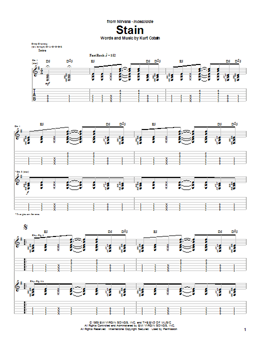 Download Nirvana Stain sheet music and printable PDF score & Rock music notes