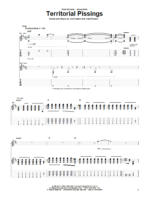 Download Nirvana Territorial Pissings sheet music and printable PDF score & Punk music notes