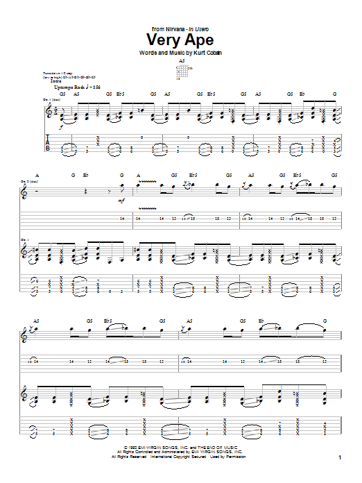Download Nirvana Very Ape sheet music and printable PDF score & Rock music notes