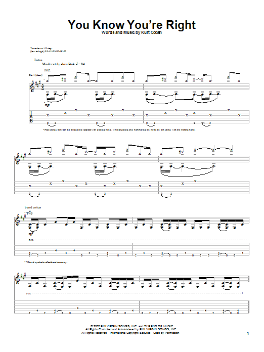 Download Nirvana You Know You're Right sheet music and printable PDF score & Pop music notes