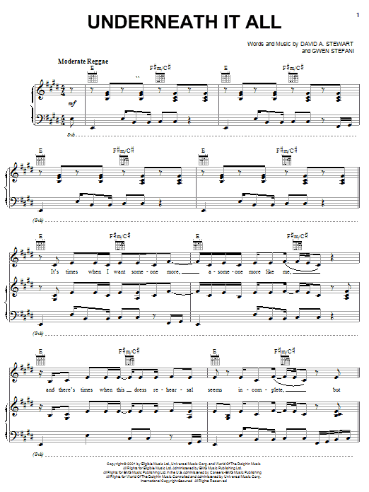 Download No Doubt Underneath It All sheet music and printable PDF score & Pop music notes