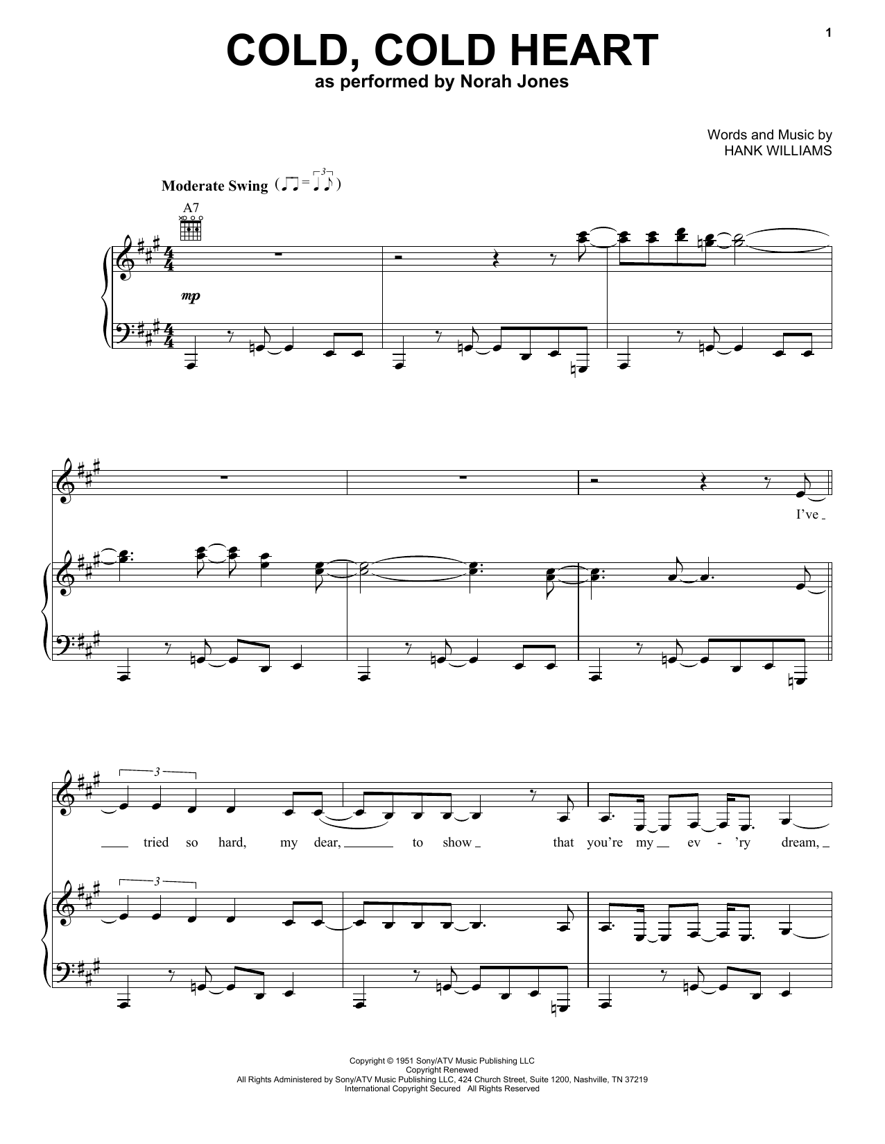 Download Norah Jones Cold, Cold Heart sheet music and printable PDF score & Folk music notes