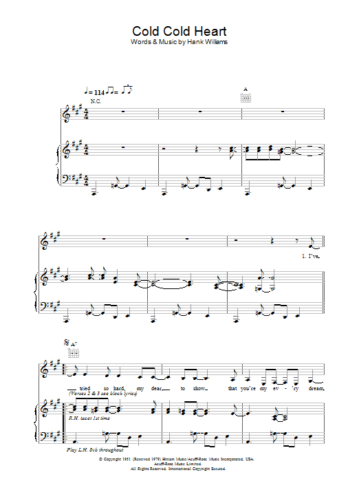 Download Norah Jones Cold, Cold Heart sheet music and printable PDF score & Pop music notes
