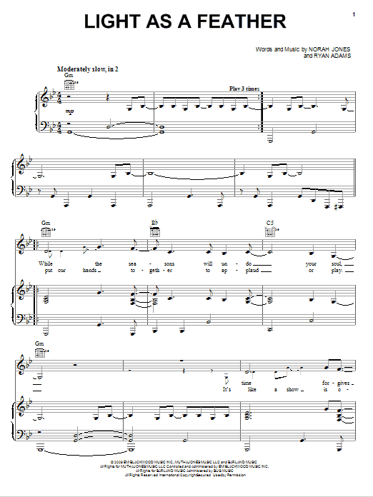 Download Norah Jones Light As A Feather sheet music and printable PDF score & Rock music notes