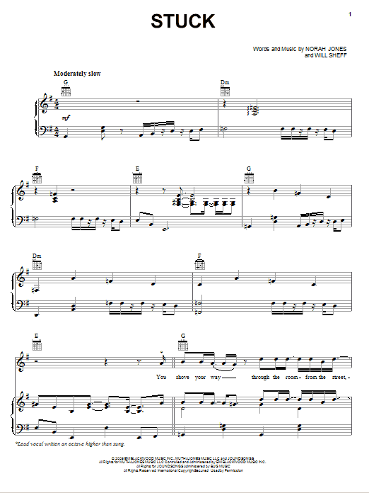Download Norah Jones Stuck sheet music and printable PDF score & Rock music notes