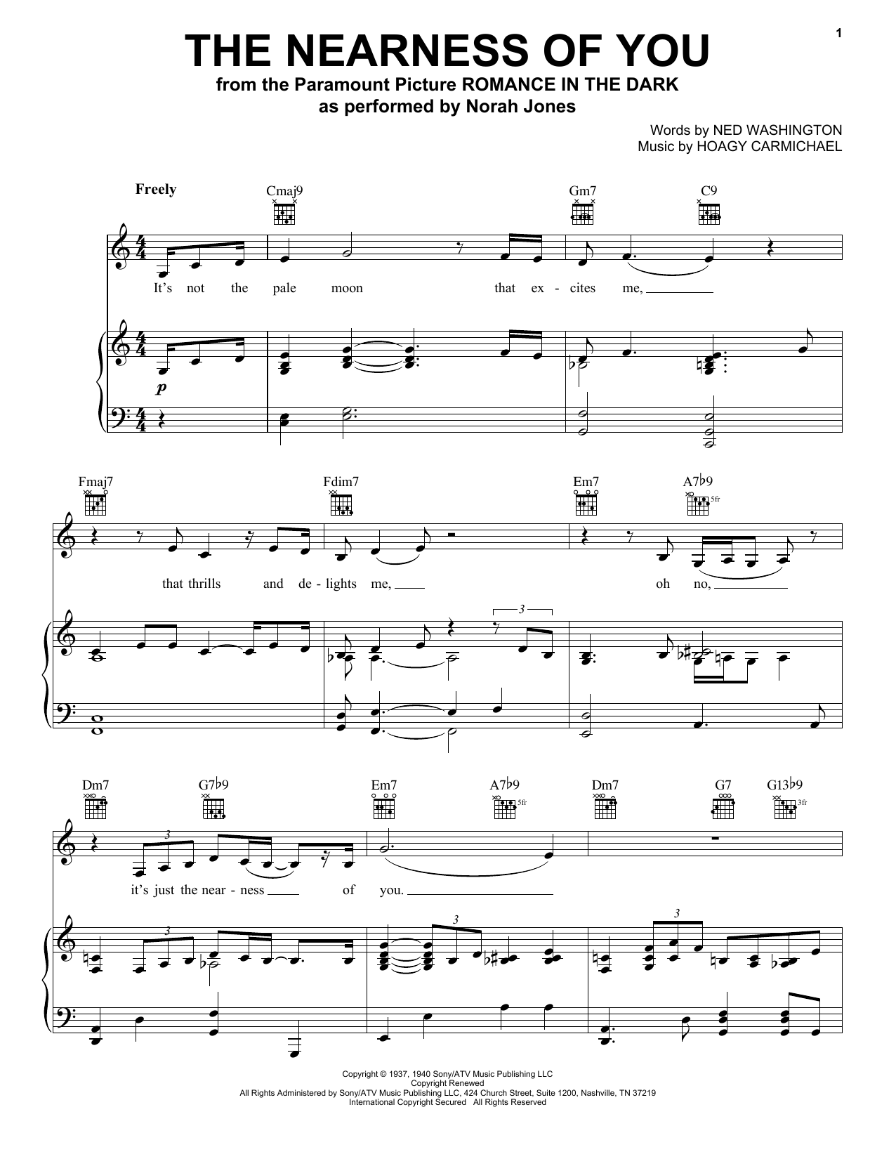 Download Norah Jones The Nearness Of You sheet music and printable PDF score & Folk music notes