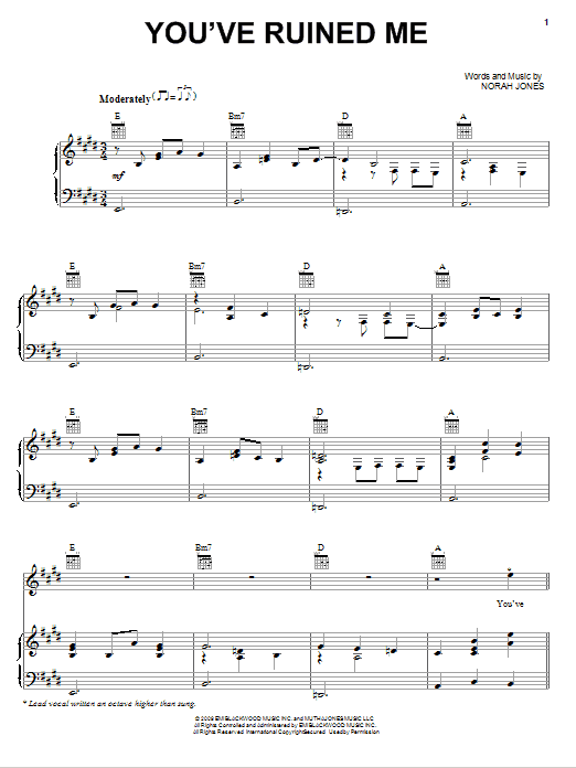Download Norah Jones You've Ruined Me sheet music and printable PDF score & Rock music notes