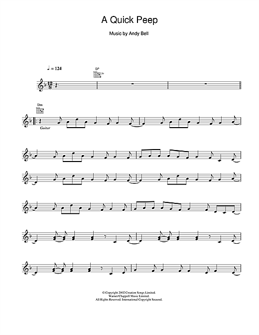 Download Oasis A Quick Peep sheet music and printable PDF score & Pop music notes