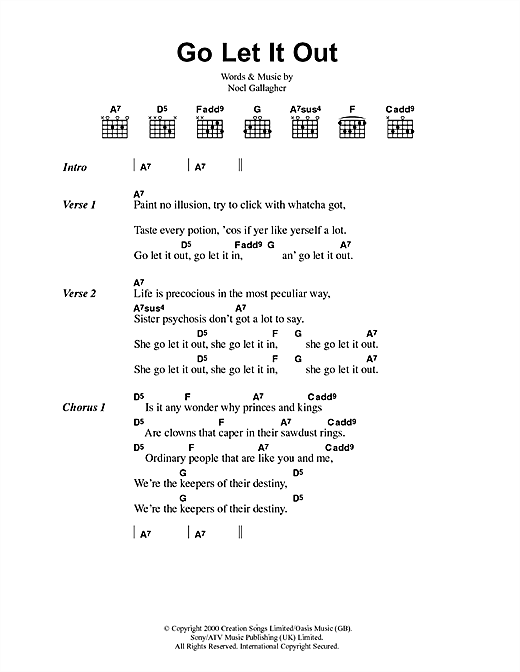 Download Oasis Go Let It Out sheet music and printable PDF score & Pop music notes