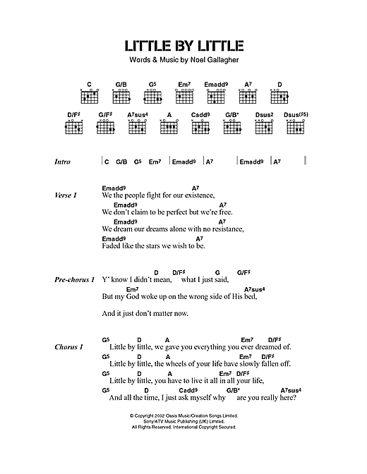Download Oasis Little By Little sheet music and printable PDF score & Pop music notes