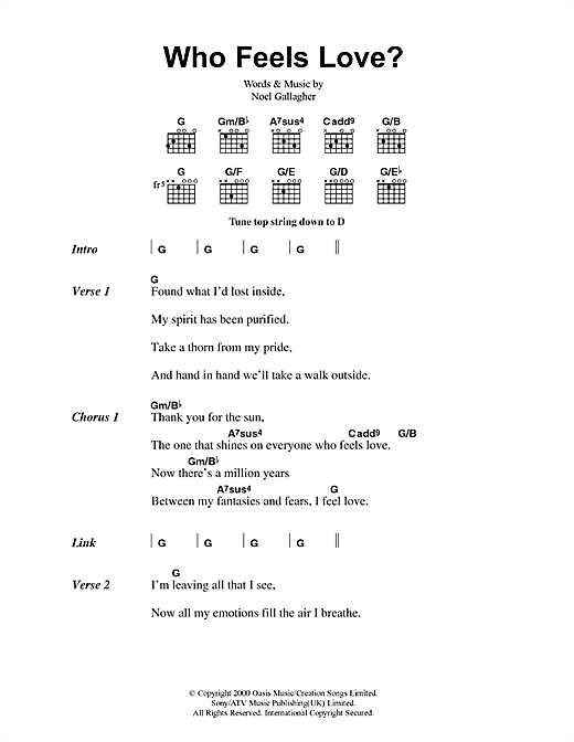 Download Oasis Who Feels Love? sheet music and printable PDF score & Pop music notes